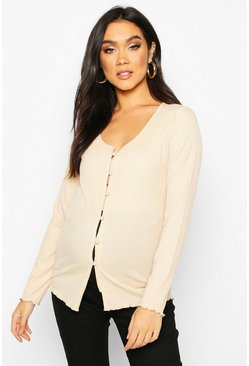Stone beige Maternity Button Front Lettuce Hem Rib Top