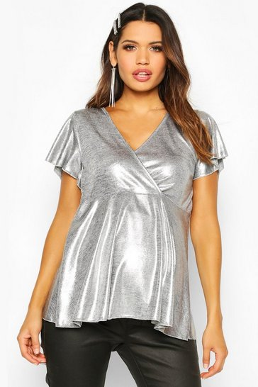 Silver Maternity Shimmer Wrap Peplum Top
