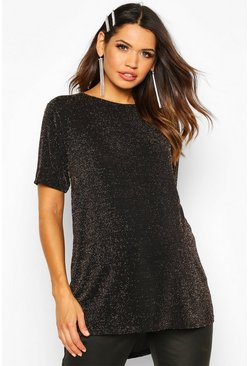 Gold metallic Maternity Slash Neck Shimmer Tunic Top
