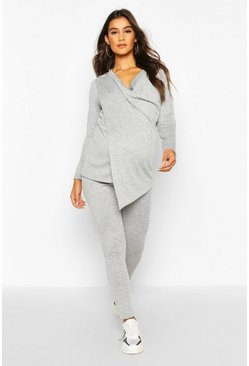 Light grey grey Maternity Nursing Wrap Lounge Set