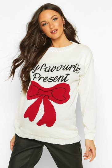 Cream white Maternity 'My favourite Present' Christmas  Jumper