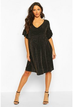 Black Maternity Shimmer Smock Dress