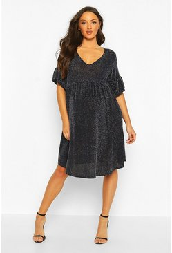 Navy Maternity Shimmer Smock Dress
