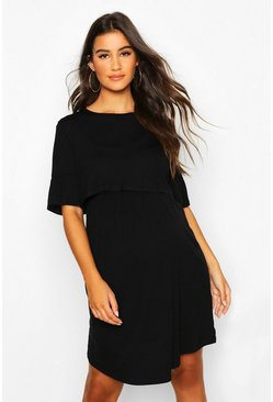 Black Maternity Nursing Smock Dress