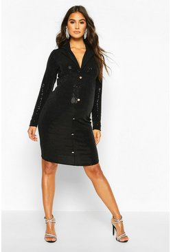 Black Maternity Stretch Sequin Blazer Dress