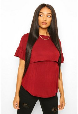 Wine Maternity Nursing Smock Top