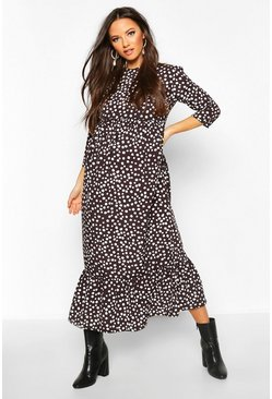 Black svart Maternity Polka Dot Ruffle Hem Midi Dress