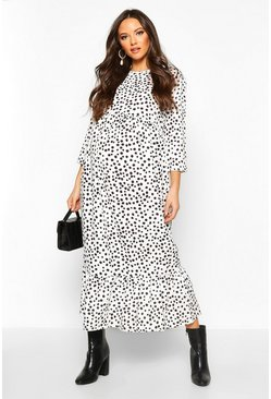 White Maternity Polka Dot Ruffle Hem Midi Dress