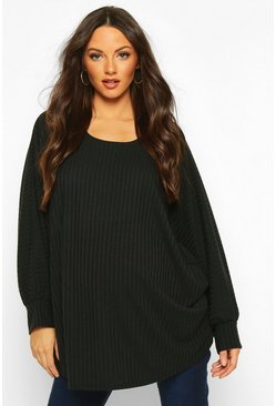 Black Maternity Batwing Rib Knit Jumper