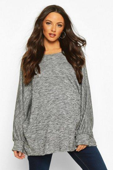 Grey Maternity Batwing Rib Knitted Jumper