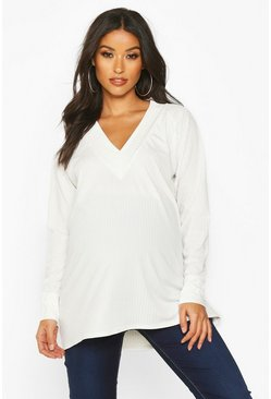 Cream white Maternity Rib Knit Tunic Jumper