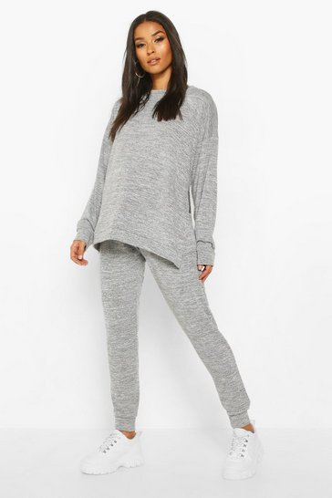 Light grey grey Maternity Side Split Lounge set
