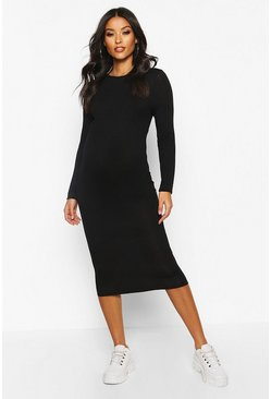 Maternity Basic Bodycon Dress, Black negro
