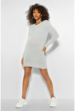 Silver Maternity Crew Neck Jumper Dress