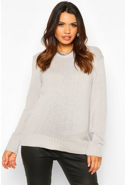 Silver Maternity Crew Neck Jumper
