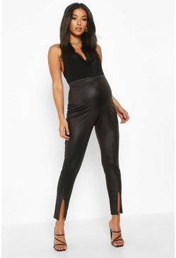 Black Maternity Split Detail Faux Leather Leggings