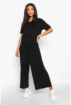 Black Maternity Nursing Culotte Jumpsuit