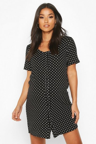 Black Maternity Polka Dot Button Front Nightie