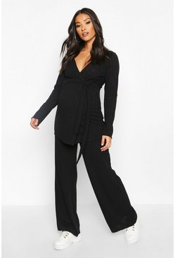 Black Maternity Tie Waist Wide Leg Rib Lounge Set