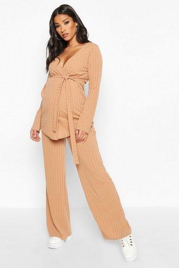 Camel beige Maternity Tie Waist Wide Leg Loungewear Set