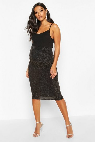 Gold metallic Maternity Shimmer Midi Skirt