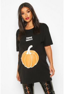 Black Maternity 'Pumpkin Smuggler' Halloween T-Shirt