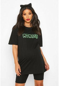 Black svart Maternity 'Mombie' Halloween T-Shirt