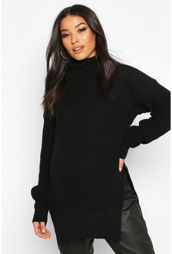 Black Maternity Roll Neck Side Split Nursing Jumper