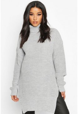 Light grey Maternity Roll Neck Side Split Nursing Jumper