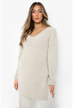 Stone beige Maternity V-Neck Side Split Jumper