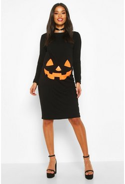 Black svart Maternity Pumpkin Halloween Bodycon Dress