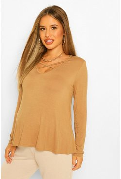 Camel beige Maternity Long Sleeved Cross Strap Swing Top