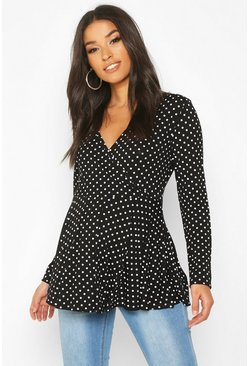 Black Maternity Polka Dot Wrap Top