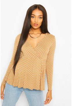 Camel Maternity Polka Dot Wrap Top