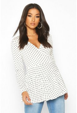 White Maternity Polka Dot Wrap Top