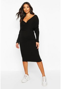 Black Maternity Wrap Top Knitted Dress