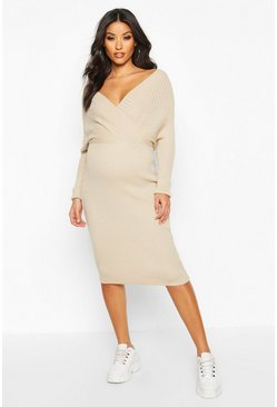 Oatmeal beige Maternity Wrap Top Knitted Dress