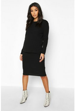 Black Maternity Knitted Rib Midi Skirt Co-ord Set