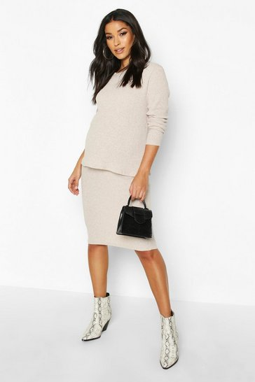 Oatmeal Maternity Knitted Rib Midi Skirt Co-ord Set