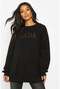 Black Maternity Leopard 'Mama' Slogan Sweat