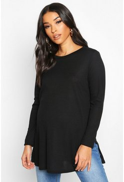 Black Maternity Side Split Rib Jumper