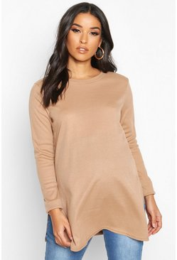 Camel beige Maternity Side Split Rib Sweater