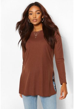 Chocolate brown Maternity Side Split Rib Jumper