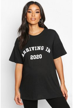 Zwart black Positiekleding 'Arriving In 2020' Slogan T-shirt