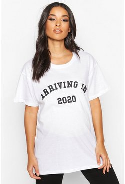 White Maternity 'Arriving In 2020' Slogan Tee