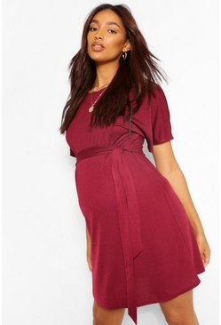 Wine red Maternity Batwing Tie Waist Shift Dress