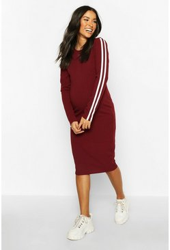 Wine Maternity Long Sleeve Stripe Rib Bodycon Dress