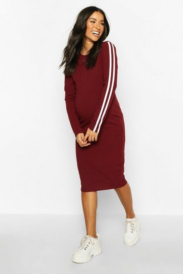 Wine red Maternity Long Sleeve Stripe Rib Bodycon Dress