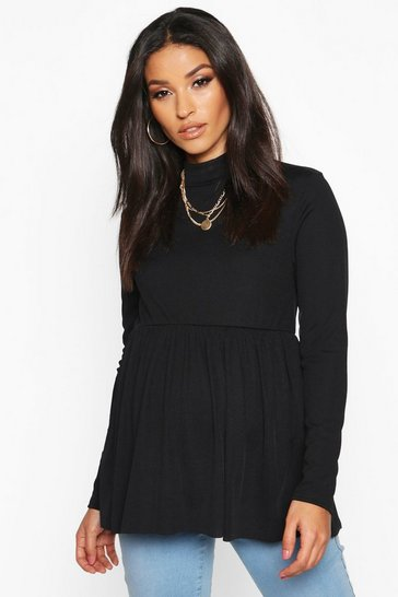 Black Maternity High Neck Smock Top