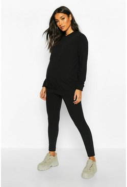 Black Maternity Soft Rib Hoody + Legging Lounge Set